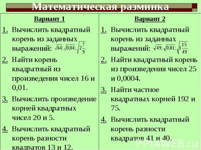 Вариант 11. Вычислить квадратный корень из заданных выражений:2. Найти корень квадратный из произведения чисел 16 и 0,01.3. Вычислить произведение корней квадратных чисел 20 и 5.4. Вычислить квадратный корень разности квадратов 13 и 12.Вариант 21. В…
