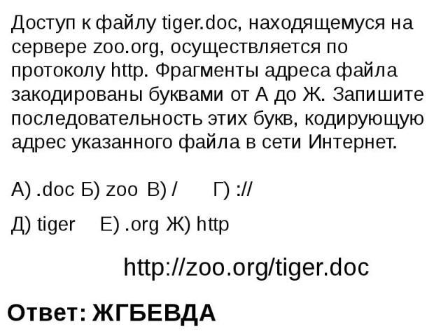 Доступ к файлу tiger.doc, находящемуся на сервере zoo.org, осуществляется по протоколу http. Фрагменты адреса файла закодированы буквами от А до Ж. Запишите последовательность этих букв, кодирующую адрес указанного файла в сети Интернет..doc Б) zoo…