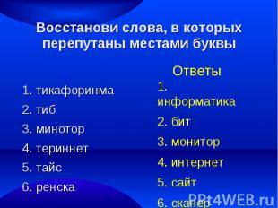 Восстанови слова, в которых перепутаны местами буквы1. тикафоринма2. тиб 3. мино