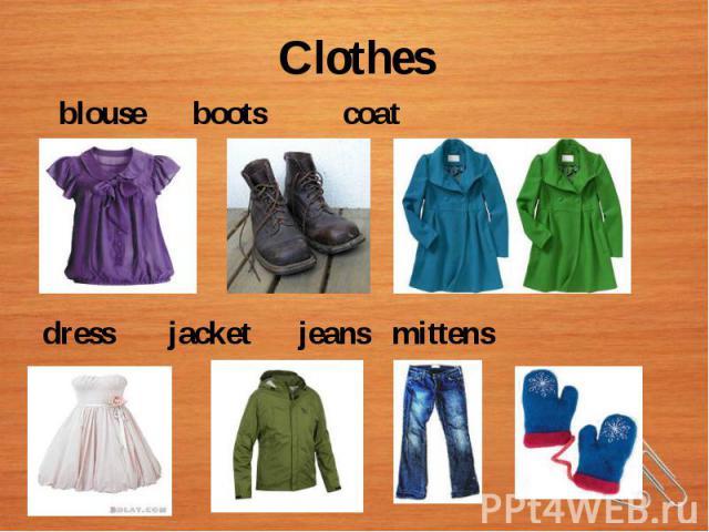 Clothes blouse boots coat dress jacket jeans mittens