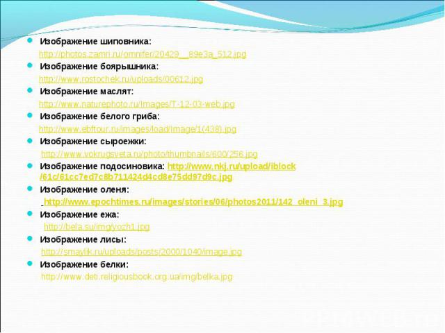 Изображение шиповника: http://photos.zamri.ru/omnifer/20429__89e3a_512.jpgИзображение боярышника: http://www.rostochek.ru/uploads/00612.jpgИзображение маслят: http://www.naturephoto.ru/Images/T-12-03-web.jpgИзображение белого гриба: http://www.ebfto…