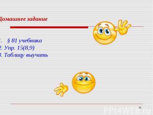 Домашнее задание§ 81 учебника 2. Упр. 15(8,9)3. Таблицу выучить