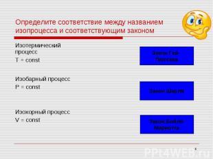 Определите соответствие между названием изопроцесса и соответствующим законом