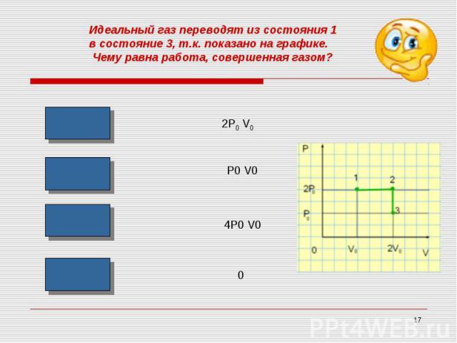 Идеальный газ переводят из состояния 1 в состояние 3, т.к. показано на графике. Чему равна работа, совершенная газом?