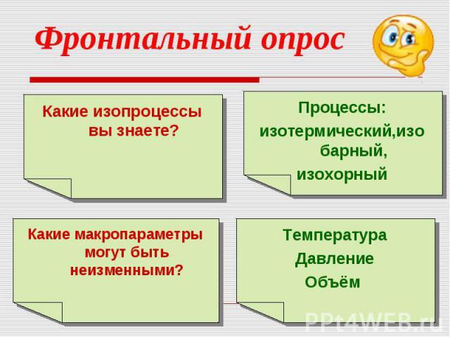 Фронтальный опросКакие изопроцессы вы знаете?Процессы:изотермический,изобарный,изохорныйКакие макропараметры могут быть неизменными?ТемператураДавлениеОбъём