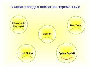 Укажите раздел описания переменных