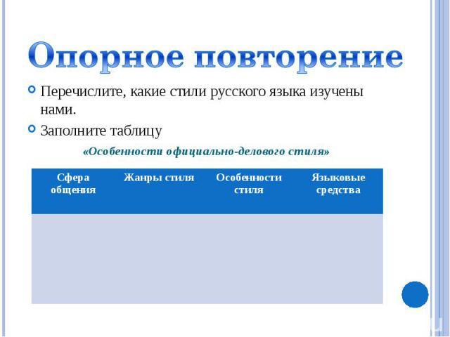 Опорное повторениеПеречислите, какие стили русского языка изучены нами.Заполните таблицу «Особенности официально-делового стиля»