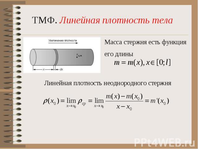 ТМФ. Линейная плотность телаМасса стержня есть функцияего длиныЛинейная плотность неоднородного стержня