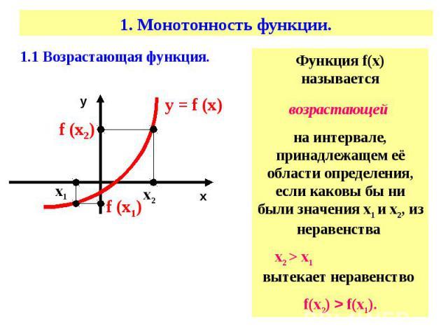 Функция f(х) называетсявозрастающей на интервале, принадлежащем её области определения, если каковы бы ни были значения х1 и х2, из неравенства х2 > х1 вытекает неравенство f(х2) > f(х1).