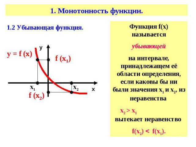 Функция f(х) называетсяубывающейна интервале, принадлежащем её области определения, если каковы бы ни были значения х1 и х2, из неравенства х2 > х1 вытекает неравенство f(х2) < f(х1).
