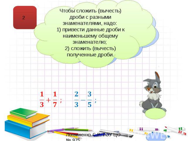 Чтобы сложить (вычесть) дроби с разными знаменателями, надо: 1) привести данные дроби к наименьшему общему знаменателю; 2) сложить (вычесть) полученные дроби.