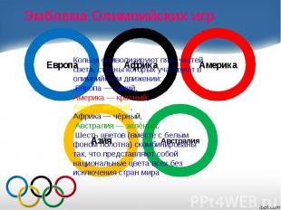 Эмблема Олимпийских игр Кольца символизируют пять частей света, страны которых у