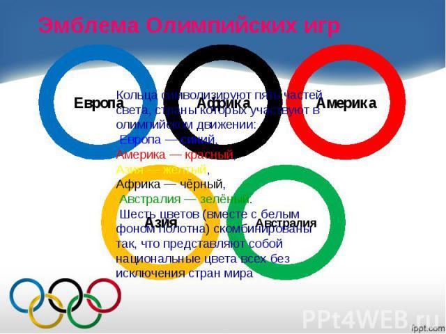 Эмблема Олимпийских игр Кольца символизируют пять частей света, страны которых участвуют в олимпийском движении:Европа— синий,Америка— красный,Азия— жёлтый,Африка— чёрный,Австралия— зелёный. Шесть цветов (вместе с белым фоном полотна) ском…