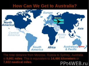 How Can We Get to Australia?The total distance from Moscow, Russia to Sydney, Au