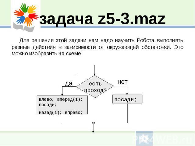 задача z5-3.mazДля решения этой задачи нам надо научить Робота выполнять разные действия в зависимости от окружающей обстановки. Это можно изобразить на схеме