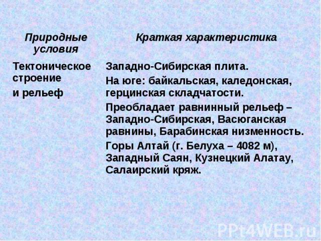 Западно-Сибирская плита. На юге: байкальская, каледонская, герцинская складчатости.Преобладает равнинный рельеф – Западно-Сибирская, Васюганская равнины, Барабинская низменность.Горы Алтай (г. Белуха – 4082 м), Западный Саян, Кузнецкий Алатау, Салаи…