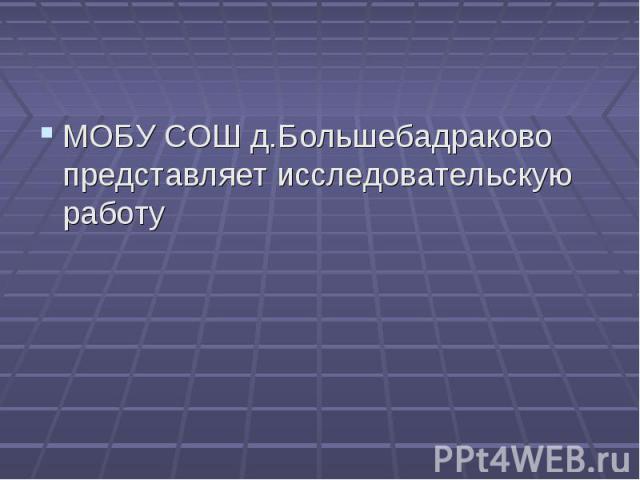 МОБУ СОШ д.Большебадраково представляет исследовательскую работу