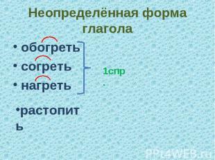 Неопределённая форма глаголаобогретьсогретьнагреть