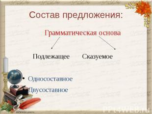 Состав предложения:Грамматическая основа ПодлежащееСказуемоеОдносоставноеДвусост