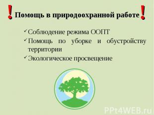 Помощь в природоохранной работеСоблюдение режима ООПТПомощь по уборке и обустрой