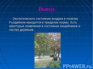 Экологического состояние воздуха в посёлке Рыздвяном находится в пределах нормы.