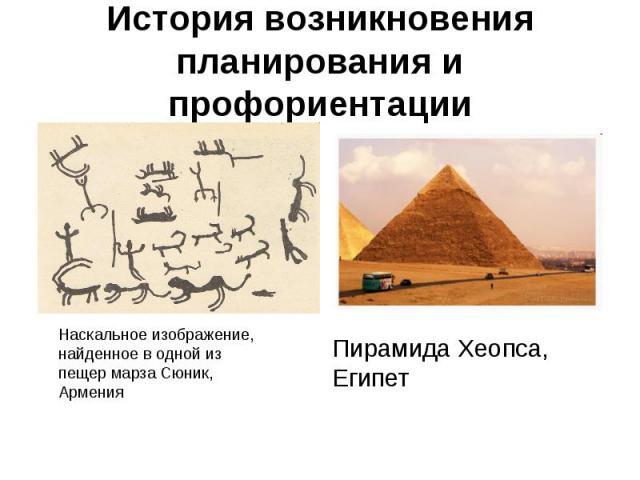 История возникновения планирования и профориентацииНаскальное изображение, найденное в одной из пещер марза Сюник, Армения Пирамида Хеопса, Египет