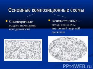 Основные композиционные схемыСимметричные – создает впечатление неподвижностиАси