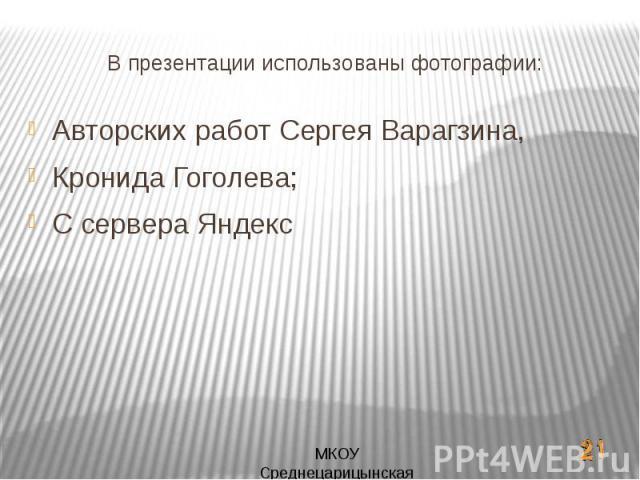В презентации использованы фотографии:Авторских работ Сергея Варагзина,Кронида Гоголева;С сервера Яндекс