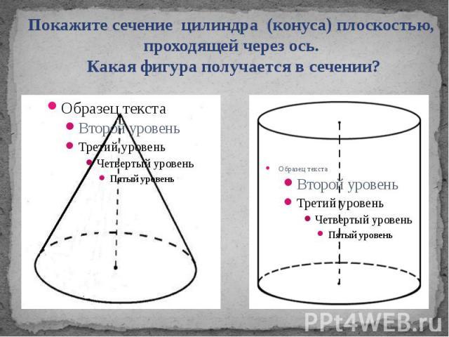 Покажите сечение цилиндра (конуса) плоскостью, проходящей через ось. Какая фигура получается в сечении?
