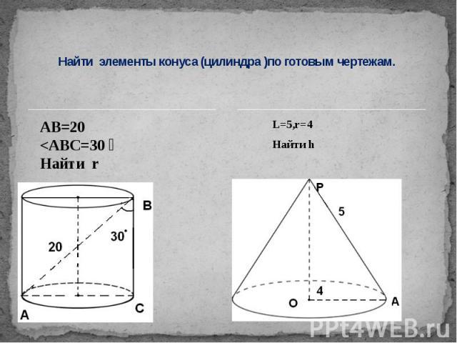 Найти элементы конуса (цилиндра )по готовым чертежам.L=5,r=4Найти h