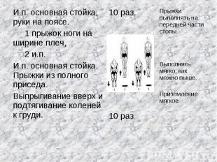 И.п. основная стойка, руки на поясе. 1 прыжок ноги на ширине плеч, 2 и.п.И.п. ос