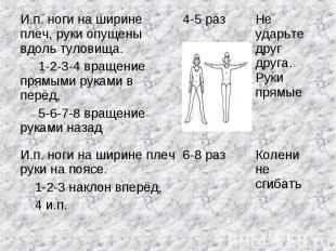 И.п. ноги на ширине плеч, руки опущены вдоль туловища. 1-2-3-4 вращение прямыми