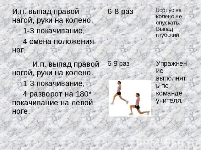 И.п. выпад правой нагой, руки на колено. 1-3 покачивание, 4 смена положения ног