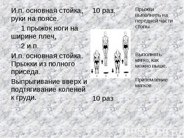 И.п. основная стойка, руки на поясе. 1 прыжок ноги на ширине плеч, 2 и.п.И.п. основная стойка. Прыжки из полного приседа. Выпрыгивание вверх и подтягивание коленей к груди.