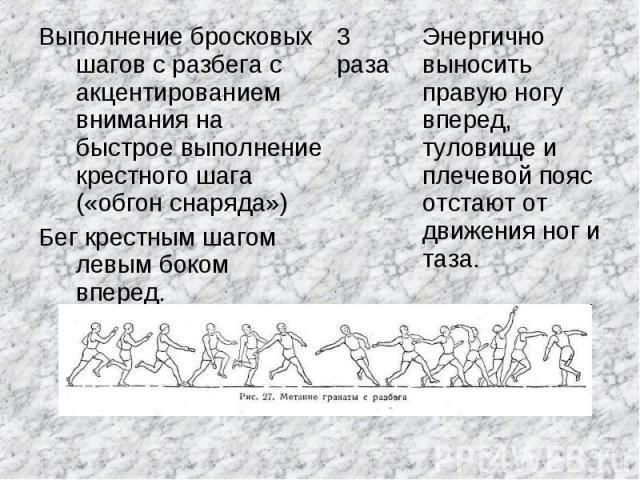 Выполнение бросковых шагов с разбега с акцентированием внимания на быстрое выполнение крестного шага («обгон снаряда»)Бег крестным шагом левым боком