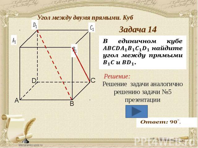 Угол между двумя прямыми. Куб