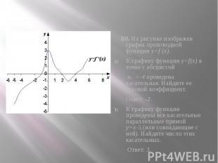 В8. На рисунке изображен график производной функции y=f (x). В8. На рисунке изоб