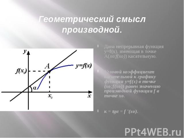 Геометрический смысл производнойДана непрерывная функция y=f(x), имеющая в точке А(xо;f(xо)) касательную.Угловой коэффициент касательной к графику функции y=f(x) в точке (xо;f(xо)) равен значению производной функции f в точке xо.к = tgα = f '(xо).