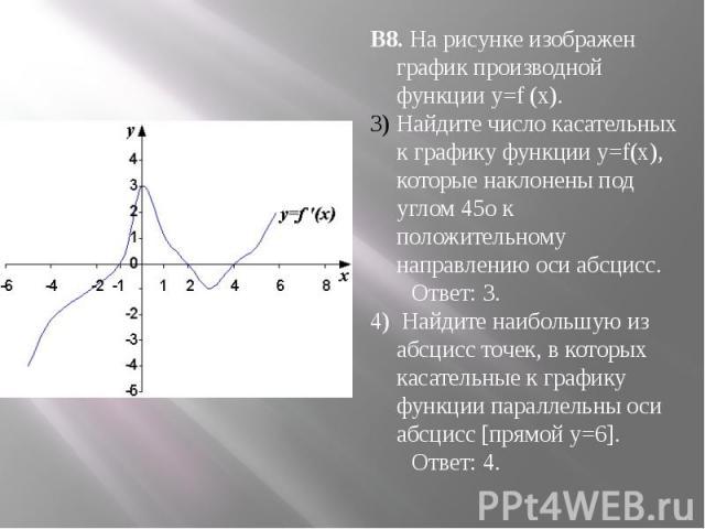 В8. На рисунке изображен график производной функции y=f (x).Найдите число касательных к графику функции y=f(x), которые наклонены под углом 45о к положительному направлению оси абсцисс. Ответ: 3.4) Найдите наибольшую из абсцисс точек, в которых каса…