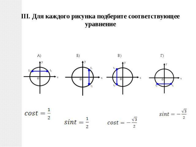 III. Для каждого рисунка подберите соответствующее уравнение