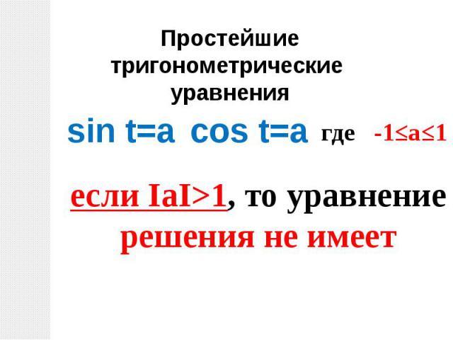 Простейшие тригонометрические уравненияsin t=aесли ΙаΙ>1, то уравнениерешения не имеет