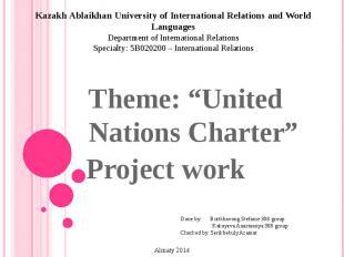 Kazakh Ablaikhan University of International Relations and World Languages Depar