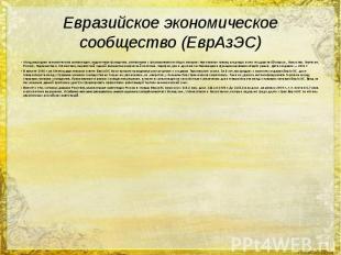 Евразийское экономическое сообщество (ЕврАзЭС) Международная экономическая орган