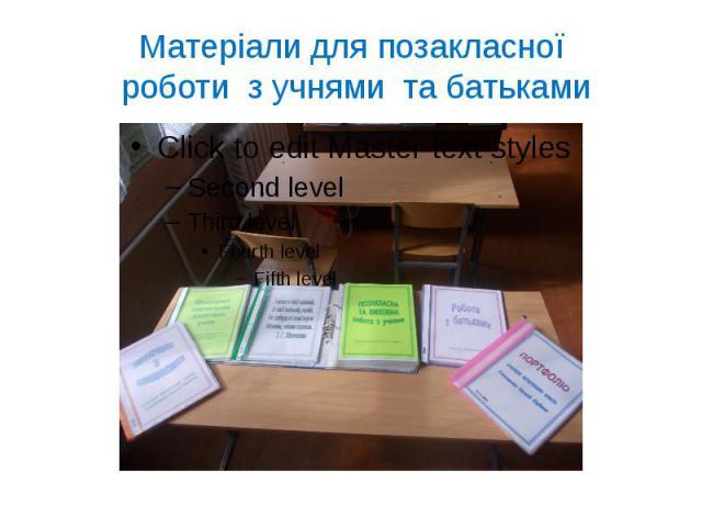 Матеріали для позакласної роботи з учнями та батьками