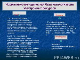 Нормативно-методическая база каталогизации электронных ресурсов