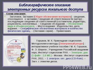 Библиографическое описание электронных ресурсов локального доступа Схема описани