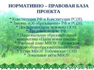 НОРМАТИВНО – ПРАВОВАЯ БАЗА ПРОЕКТА * Конституция РФ и Конституция РС(Я). * Закон