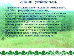- профессионально-ориентационная деятельность для 8-9-х предпрофильных классов;