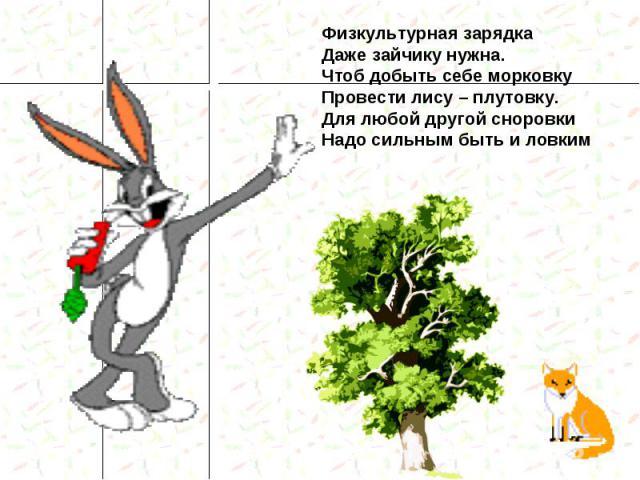 Физкультурная зарядка Даже зайчику нужна. Чтоб добыть себе морковку Провести лису – плутовку. Для любой другой сноровки Надо сильным быть и ловким