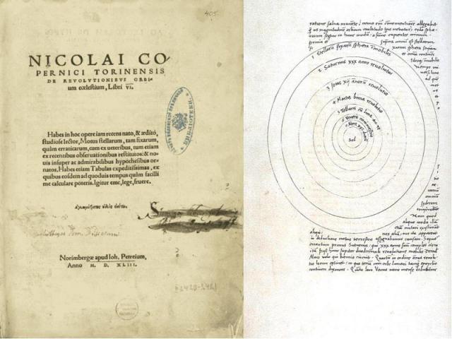 По структуре главный труд Коперника почти повторяет «Альмагест» в несколько сокращённом виде (6 книг вместо 13). В первой части говорится о шарообразности мира и Земли, а вместо положения о неподвижности Земли помещена иная аксиома— Земля и другие …